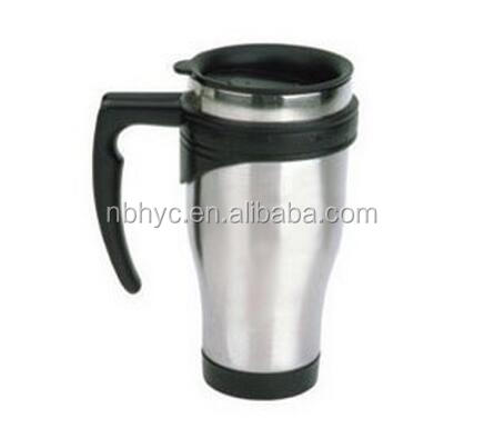 Stainless steel coffee mug with handle, double wall insulated desk mug, bpa free 16ounce coffee travel tea cups