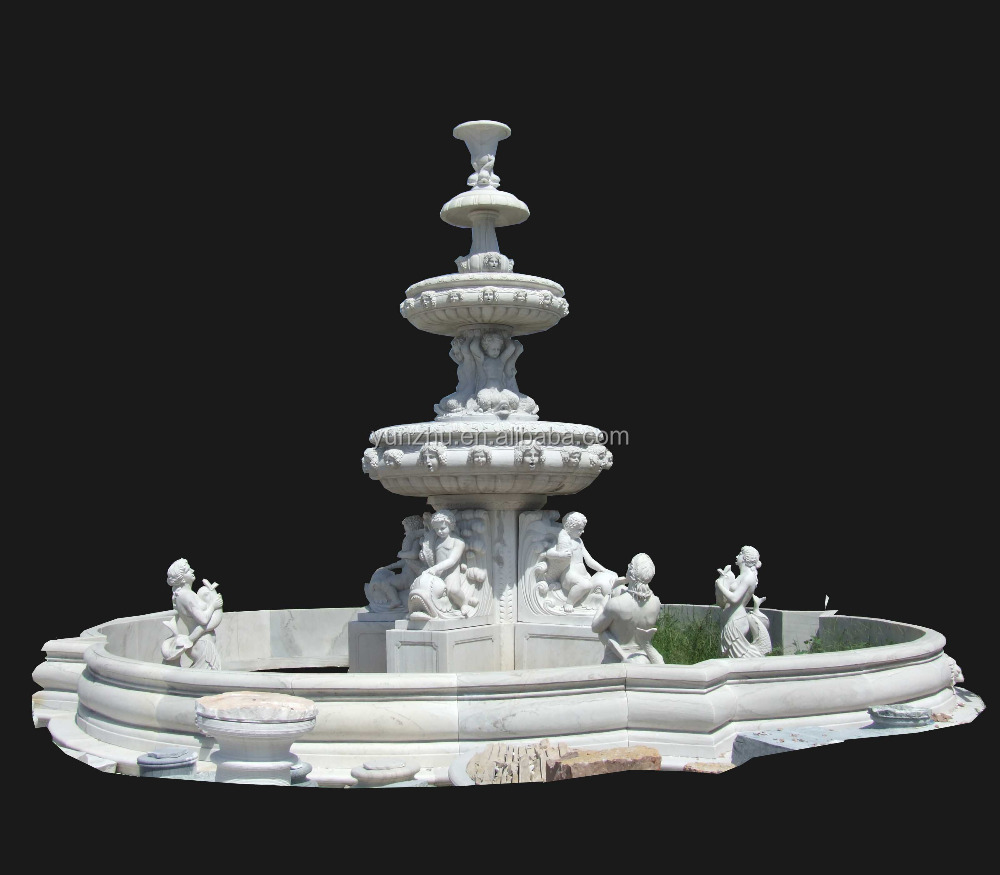 Little Kid and Women and Mermaid Statue Water Swimming Pool Garden Water Fountain