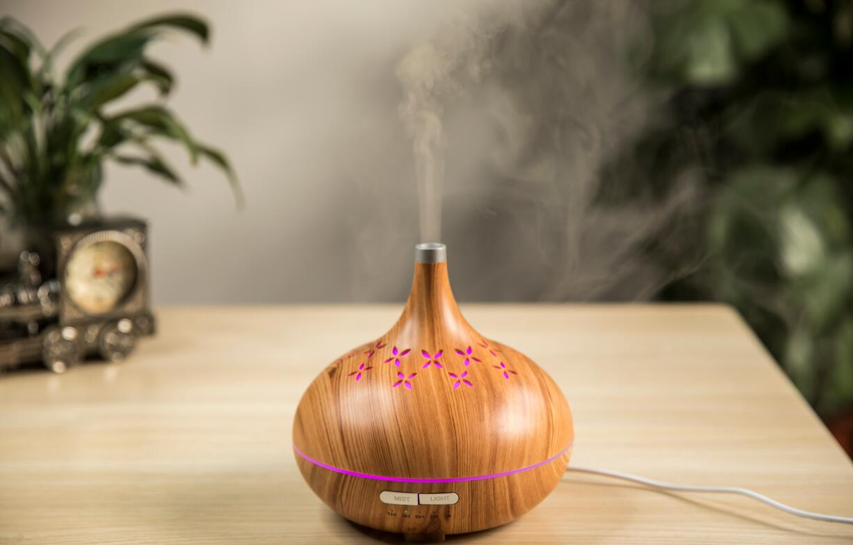 Amazon best seller  EH804A 400ml 7 color LED with timer wooden electric ultrasonic essential oil aroma diffuser