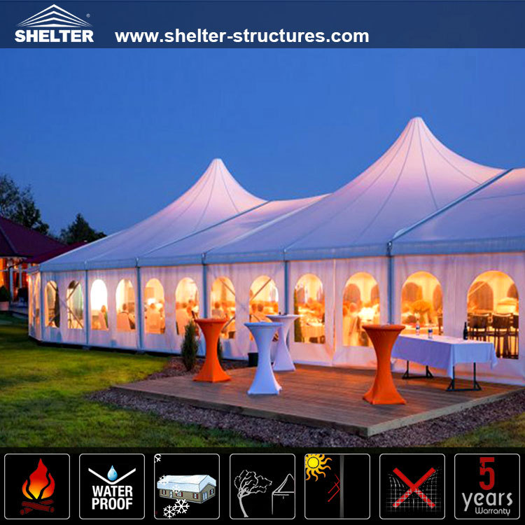 Luxury mixed pagoda party tents with high peaks for wedding event