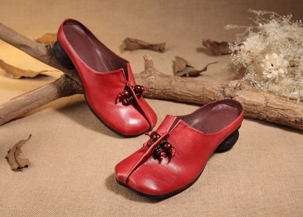 New Ladies 2017 Low Toe Fashion Leather Slipper Genuine Handmade Heel Arrival Round vqq6d