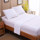 hotel linen 100% cotton fabric 300tc queen size white fitted bed sheet