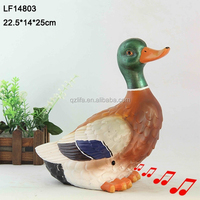 polyresin cheap fairy figurines motion sensor duck