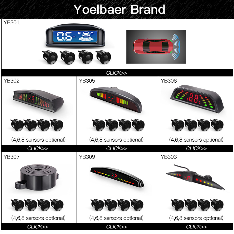 Yoelbaer Led Parking Sensor Auto Car Detector Parktronic Display Reverse Backup Radar Monitor System With 4 Sensors Parking