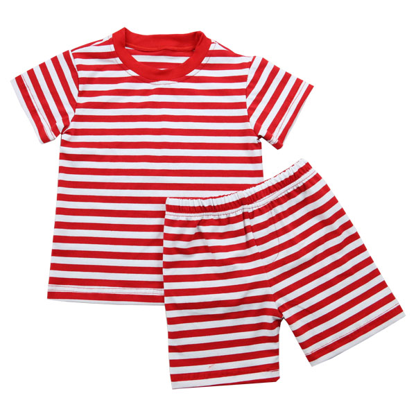 China bulk hot sale baby strip outfits Wholesale hot summer Nightwear soft Cotton kids Pajamas