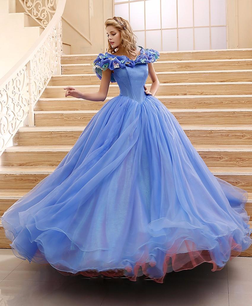 Cinderella Dress Organza Ball Gown Wedding Dresses 2016