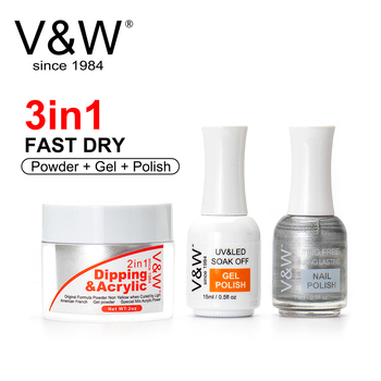VW High Quality Fast Dry 3 In 1 Color Match Dip Gel Powder And Nail Polish Lacquer High Shine Glitter Dipping Powder Starter Kit