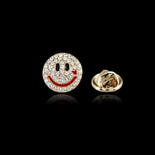 2015 Wholesale Rhinestone Epoxy Emoji Wechat Smile Face Mini Brooches