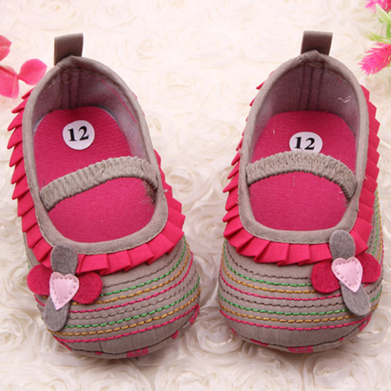 Cotton Cloth First Walker Four Flower Baby Girl Striped Sole Shoes for Kids Cute Toddler Shoe