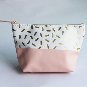 Custom Small Pink Cream Color Handy Pouch Gold Metallic Sprinkles Pu  Leather Cosmetic Bag - Buy Pu Cosmetic Bag,Gold Cosmetic Bag,Metallic  Cosmetic