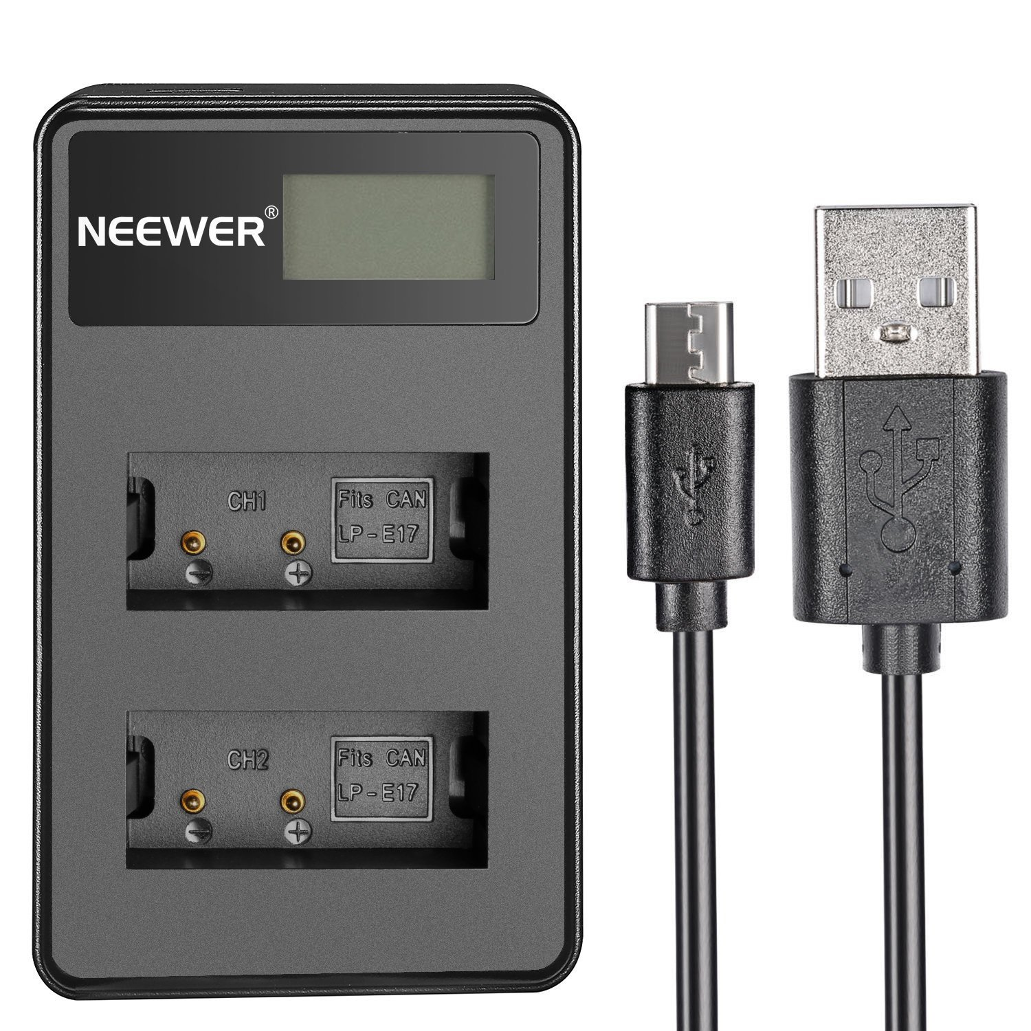 Neewer USB Dual Battery Charger with LED Display 5V/2A Input for Canon LP-E17 Rechargeable Battery, Suitable for Canon EOS M3 EOS M5 EOS Rebel T6i Rebel T6s EOS 750D EOS 760D KISS X8i DSLR,BG-E18 Grip