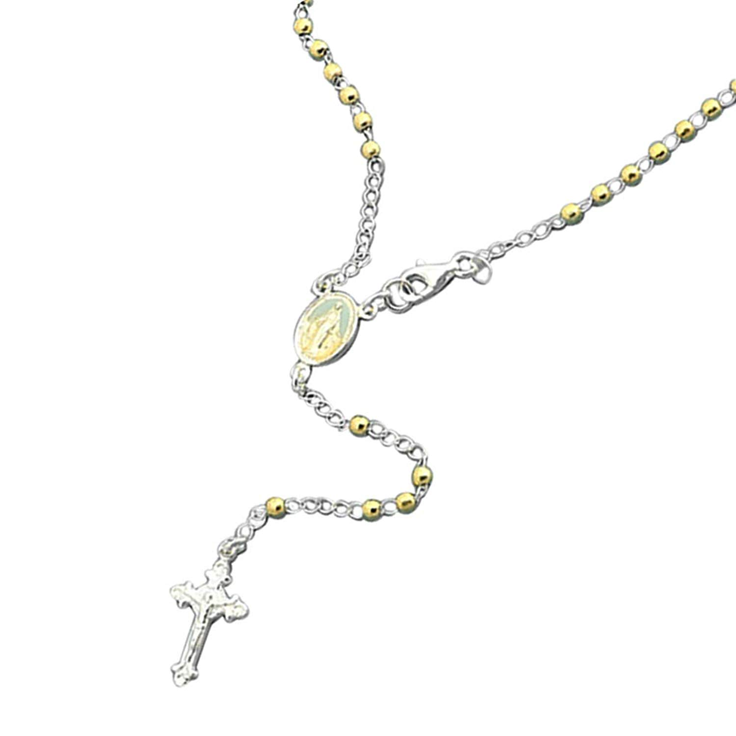 14K Yellow Gold Plated Sterling Silver Rosary Necklace 2.5mm DC Bead Cross Rosary Chain (18~26 Inches)