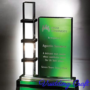 Clear Tower Design Engraved Green Crystal Plaque
