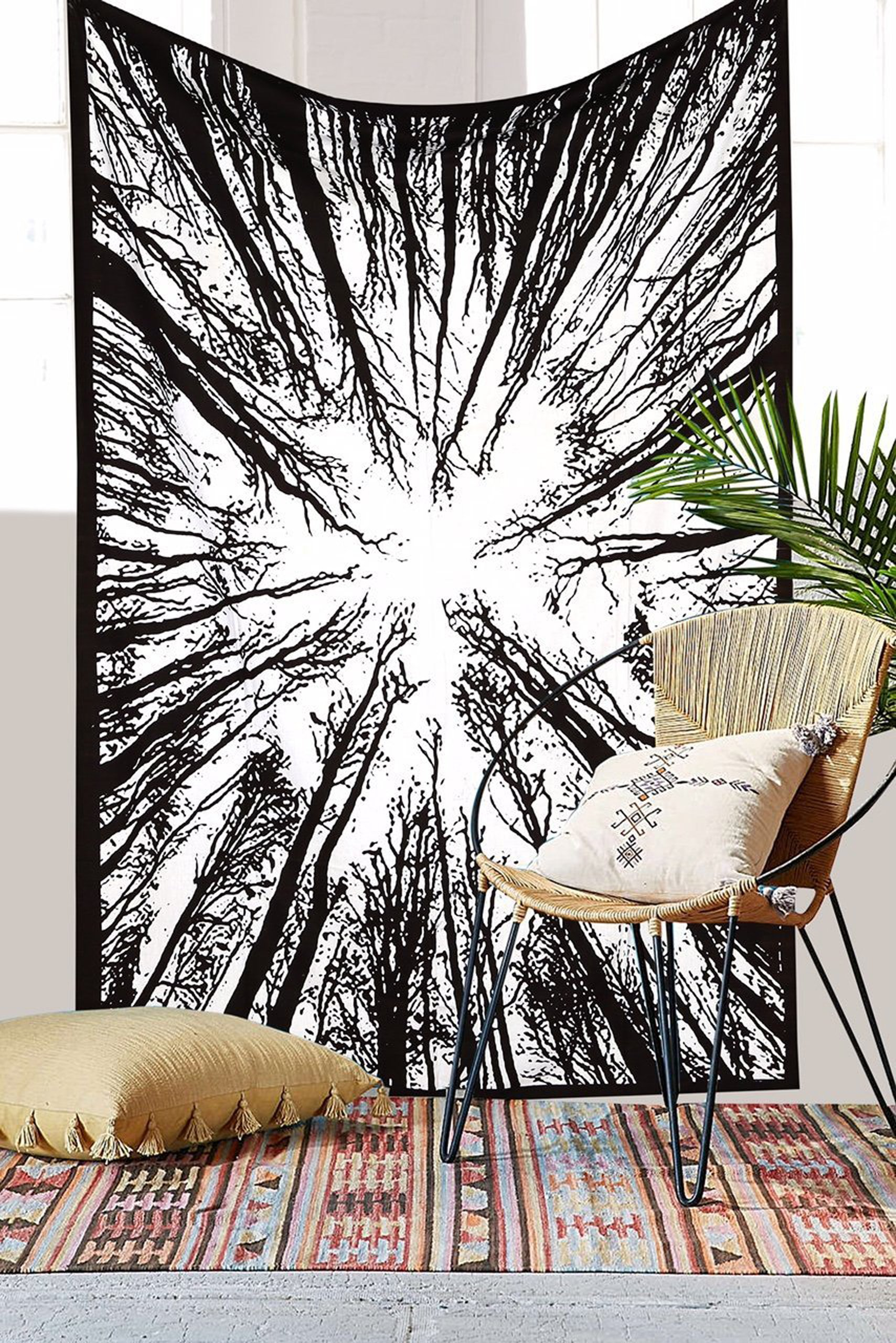 "Exclusive Handmade black and white Forest Wild Life Tapestry By ""RaaJsee"",Boho Bohemian Tapestry Wall Hanging Tapestry,Dorm Decor Tapestry,Hippie Bedspread Tapestry"