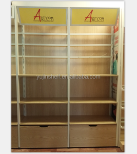 New arrival wooden wall shelf store display rack with storage cabinet used convenience store equipment