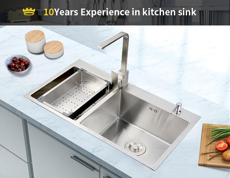 Modern Simple design portable custom size handmade undermount kitchen sink wholesale stainless steel