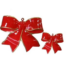Christmas gifts red decorations fiberglass hanging bowknot