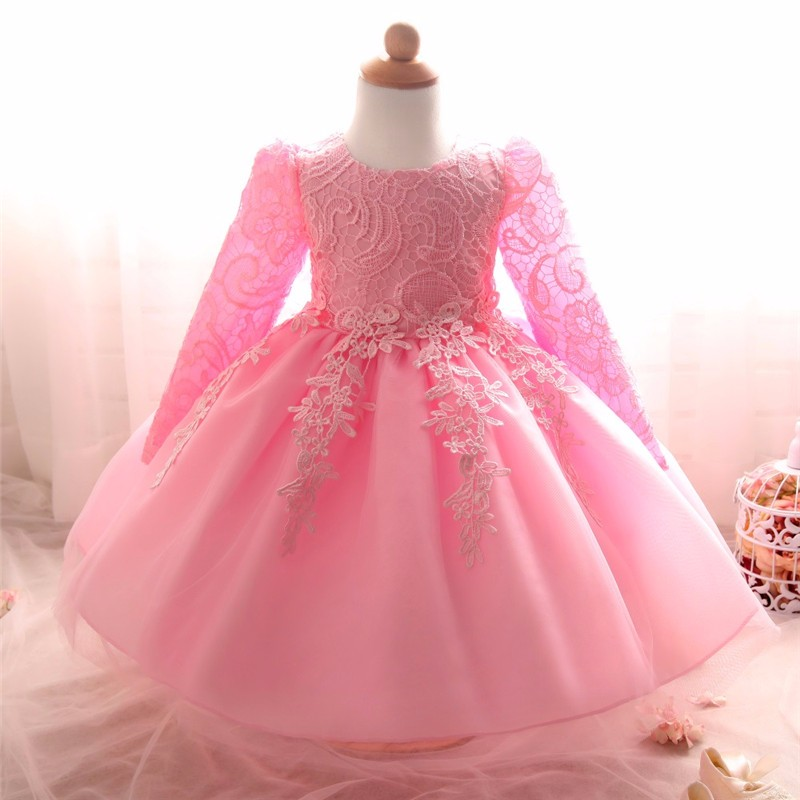 fdf3b6bc9 2019 Wholesale Winter Baby Girl Dress Lace Princess Baby Frock ...