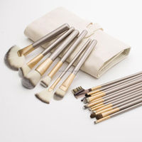 Factory sales 18pcs Beige Makeup Brush Set Cosmetic Foundation Powder Brushes Kit + Pouch Case