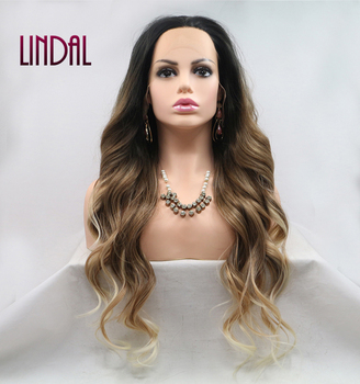 LINDAL Best Vendor of Deep Water Wave Highlighted Color Private Label Ear to Ear Blonde Black Ombre Synthetic Front Lace Wigs