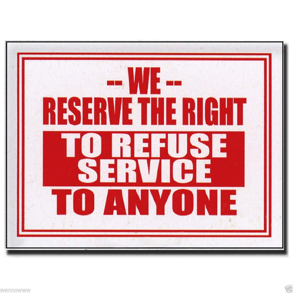 "Wennow ""2 Pcs 9 x 12 Inch Red & White Flexible Plastic """" To Refuse Service """" Sign"