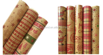 Gift wrapping paper in roll double side printing on kraft paper or foil stamping for party decoration