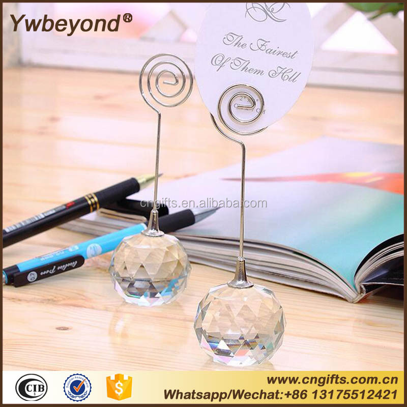 Free ship Ywbeyond Romatic Crystal Ball Place Name Card Holders Clip Photo Holder wedding table centerpieces decoration