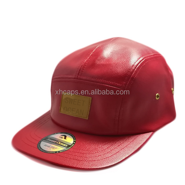 OEM 5 panel hat cap high quality red leather snapback hats with PU leather embossed logo