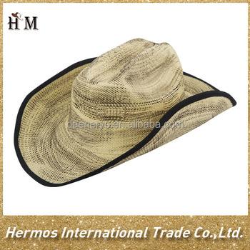 Fashion terbaru pria murah kertas jerami topi koboi dengan pinggiran lebar  tertutup tepi hitam ccf0356f67