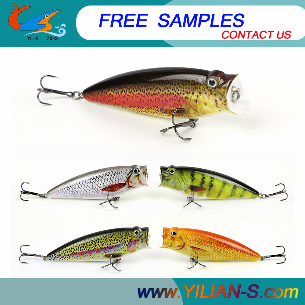Free Fishing Tackle Samples 4.52inch 16.2g ABS Plastic Popper bait 3D eyes fishing lures for freshwater tackle