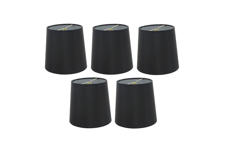 Upgradelights Set of 5 Silk Chandelier Lamp Shades 4 Inch Euro Style Drum Black Silk 4x5x5