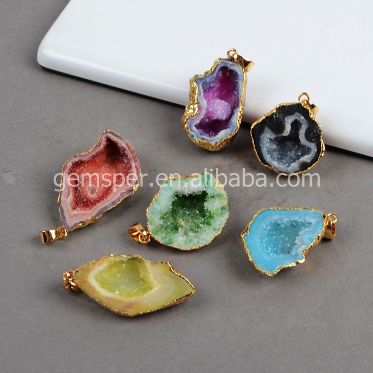 Wholesale Wholesale gold plated freeform natural rough agate druzy ...