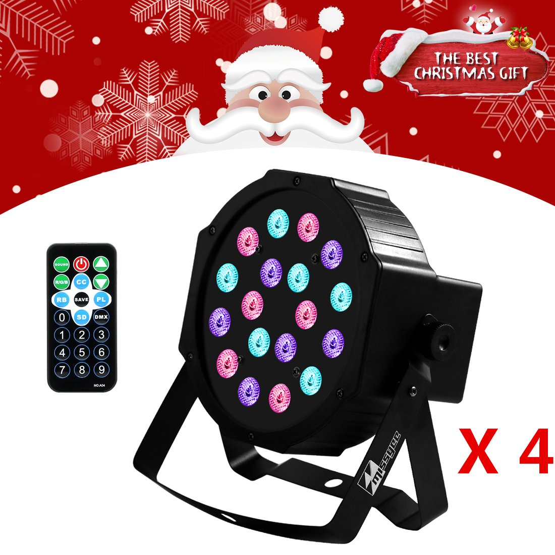 Uplights 18 RGB Led Up Lights, Missyee Sound Activated DMX Uplighting, LED Par Can Lights with Remote Control, DJ Uplighting Package for Wedding Birthday Home Party (4 pcs)