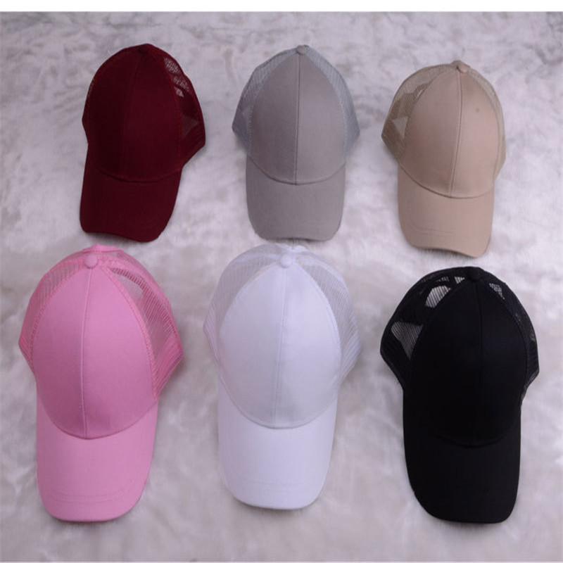 63df3dec0c3 women girls kids ponytail baseball hat Girl Softball hats back hole Pony  Tail mesh cap sun hats K0242