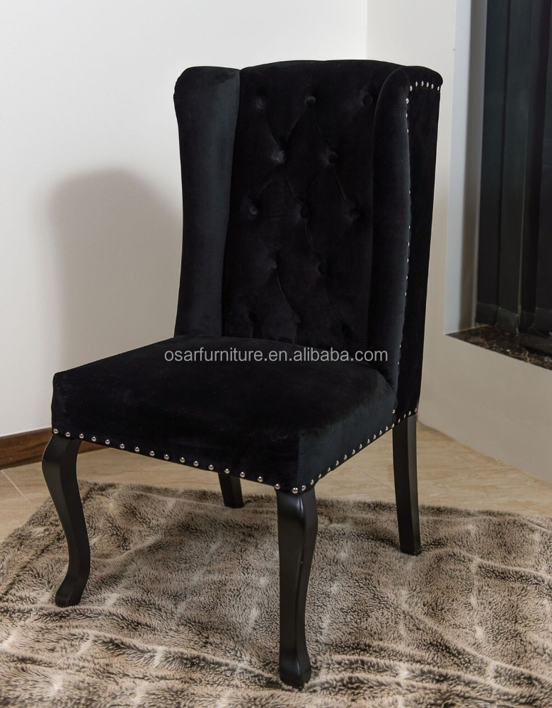 Luxury Wing Back Black Velvet Dining Chair With Ring Pull Buy
