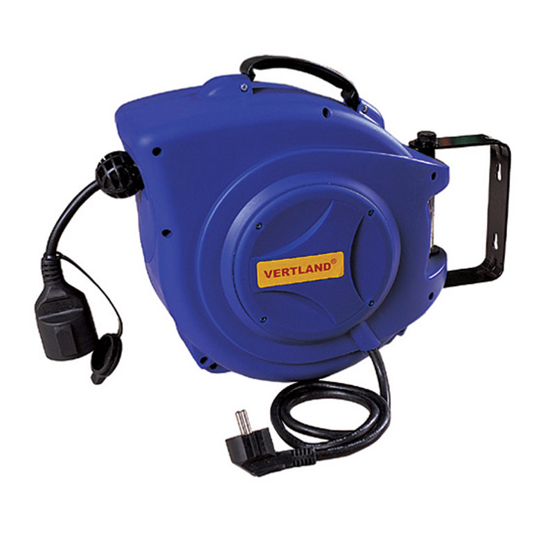 self-retracting power cord reel with extension socket