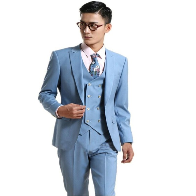 Bl129 Costume Homme Bespoke Light Blue Wedding Suits For Men Slim ...