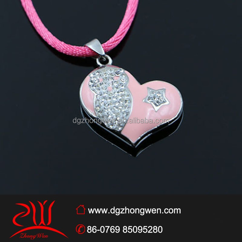 Stainless steel heart shaped crystal owl pendant for doll necklace