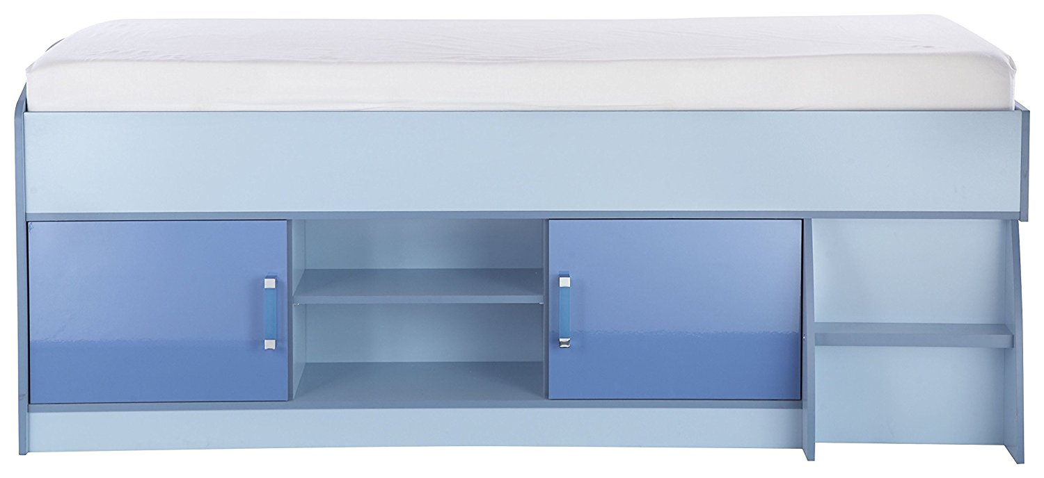 Low cabin bed with storage in blue