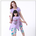 Mother Daughter Matching Clothes Cute Cat Cotton Short Sleeve Shirt Pants Family Look Matching Outfits Set