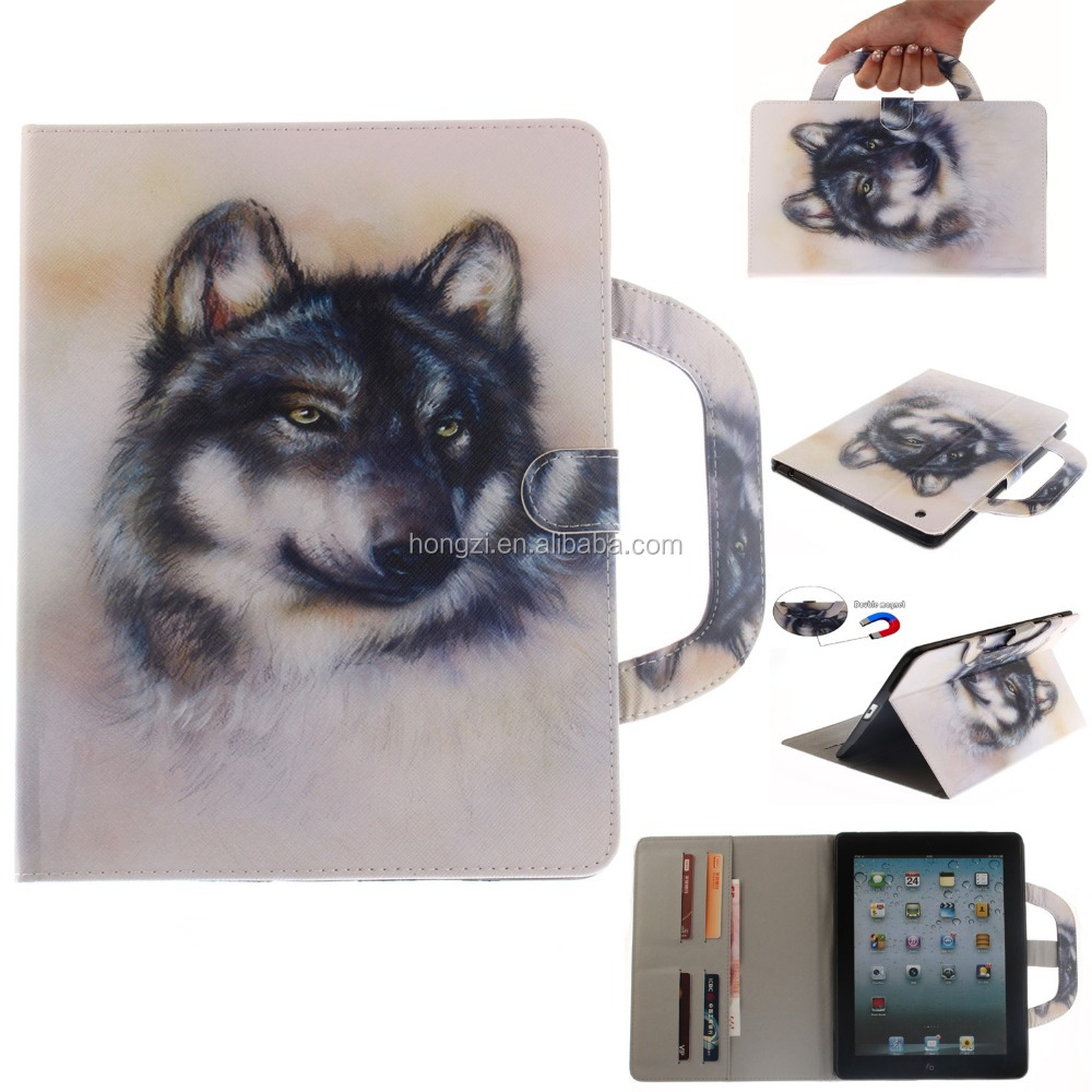 Wallet bag Pu leather Protective Cover For Ipad 2/3/4 PU leath Case Cover With Stand Fashional Color Printing Hot sale