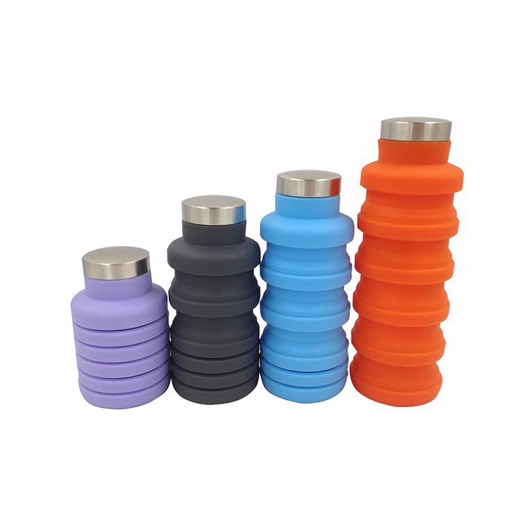 Garrafa de água dobrável do silicone da garrafa de água do silicone dobrável
