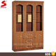 Trade assurance high quality furniture 3 door MDF wooden color bookcase for office