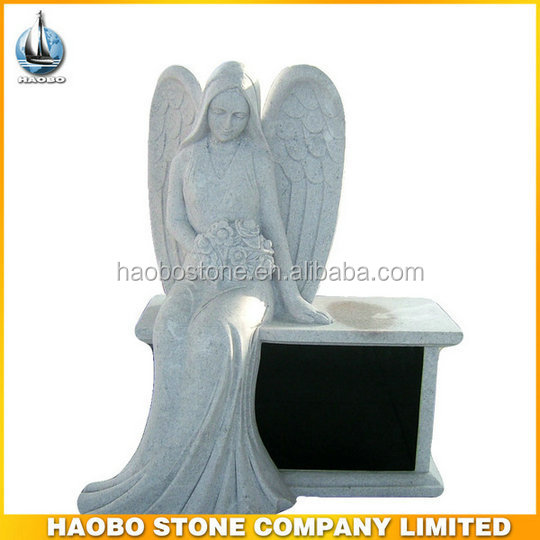 Wing Angel Black Granite Bench Headstone