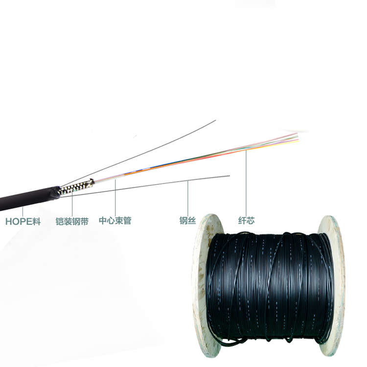 2 / 4 / 6 / 8 / 12 / 16 / 24 Core Outdoor Armoured GYXTW optical fiber cable 2km each roll