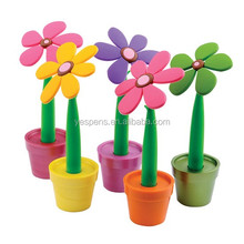 fancy rubber flower table pen for school students