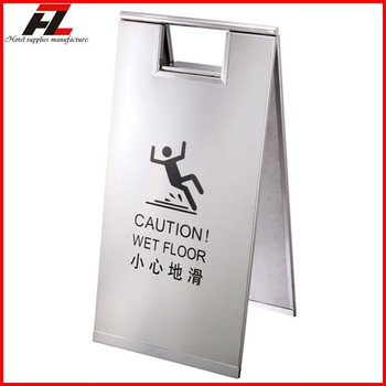 stainless steel folding caution a board sign stand hotel caution