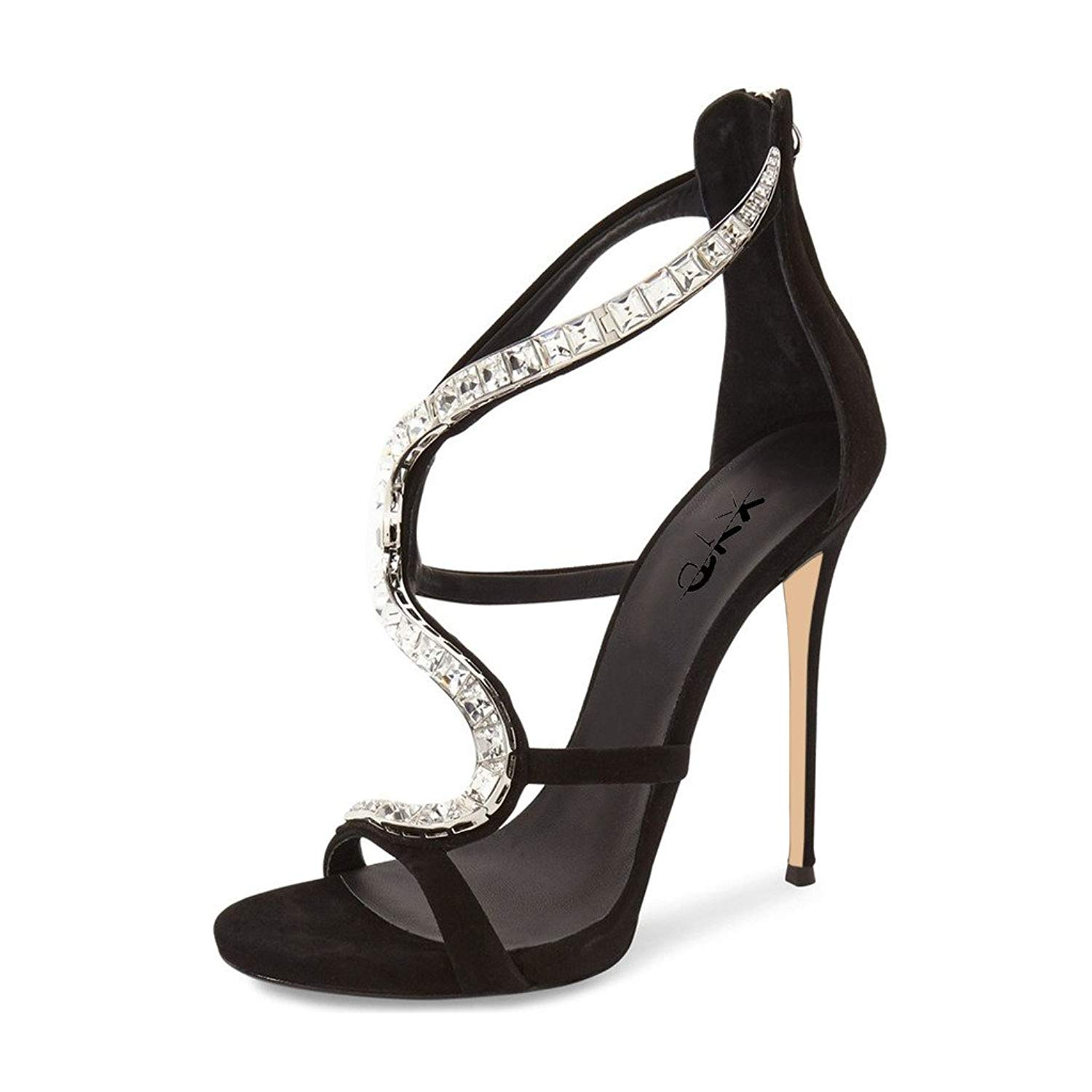 601f1e5a1f65 Get Quotations · XYD Cocktail Party Stilettos Sandals Rhinestones Strappy  High Heels Sexy Dress Pumps Shoes for Women