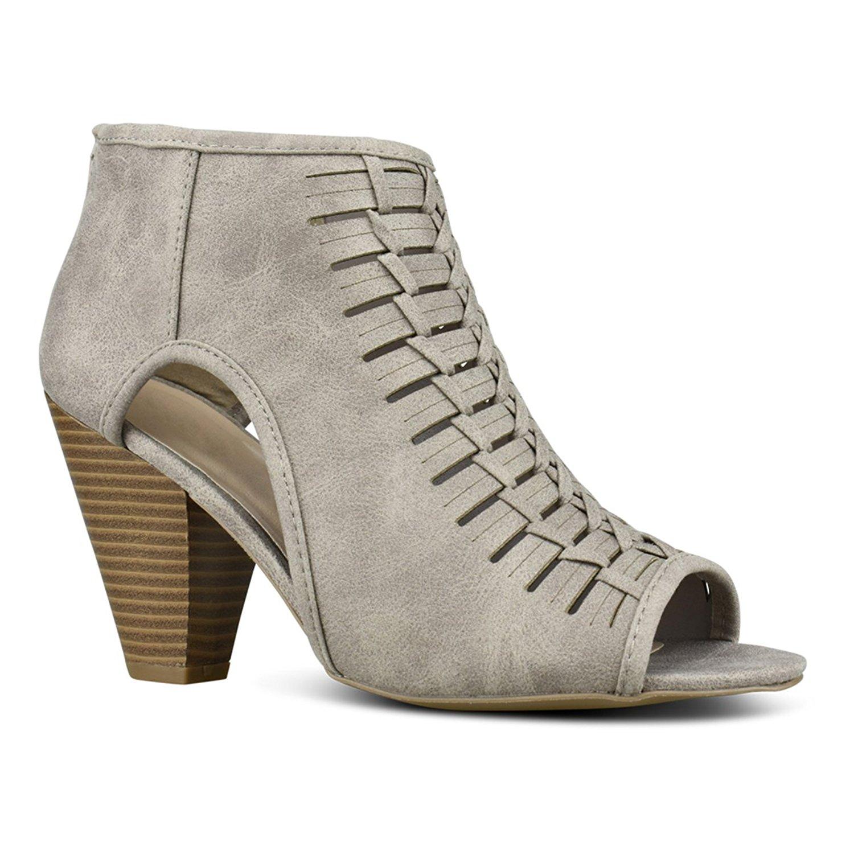 Premier Standard Women's Open Toe High Heel - Sexy Stacked Wood Heel Sandal - Vegan Leather Cutout Shoe