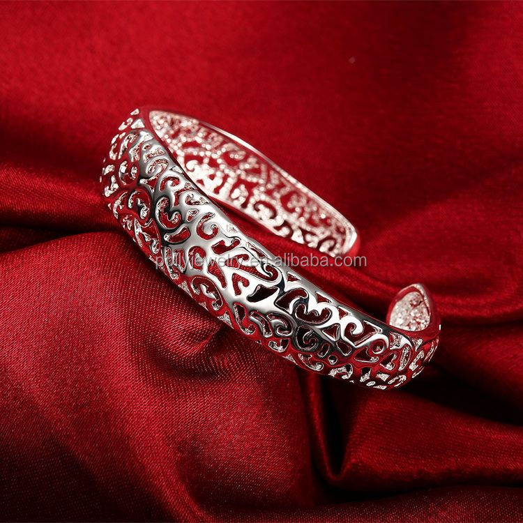 High Quality 925 Silver Plated Brass Hollow Women's Opening India Bangle